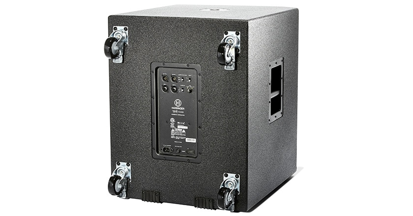 Photo of VARI V2318S active subwoofer cabinet side with casters