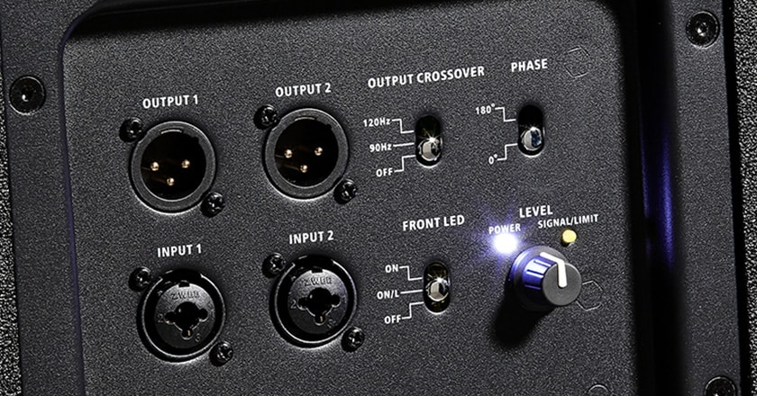 Close-up view of DSP switches and level knob on V2318S sub