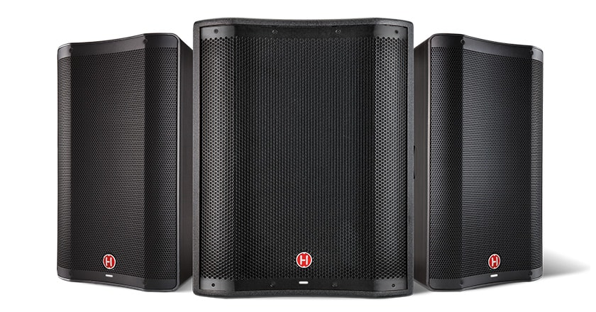 Photo of all VARI 2300 Series active PA speakers