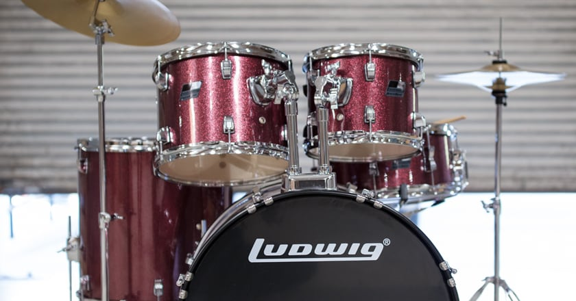 Ludwig BackBeat Complete Drum Set with Cymbals and Hardware Front View