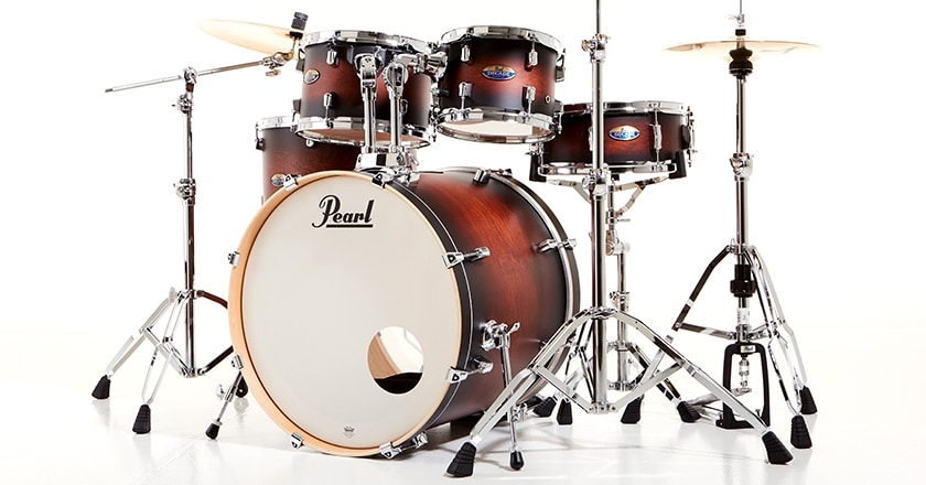 Pearl Decade Maple drum shell pack with two rack toms, floor tom, bass drum and snare drum, displayed with cymbals and hardware (sold separately)