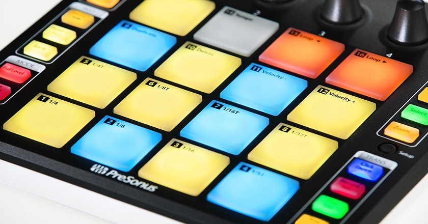 Close-up of Presonus ATOM RGB pads