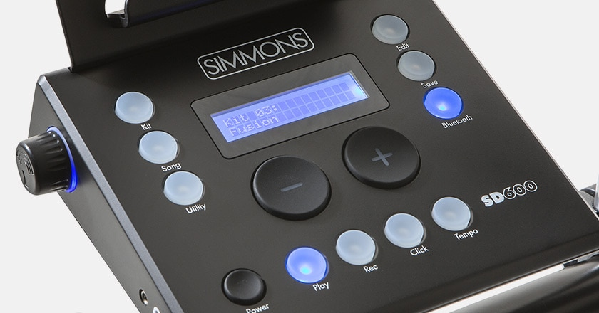 Detailed picture of Simmons SD600 electronic drum module with Simmons Signature Sound Library