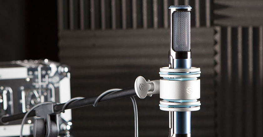 The Sterling ST170 Microphone in its Shockmount on a Microphone Stand