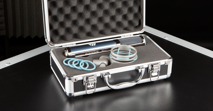 The Sterling ST170 Microphone Pictured in Its Rugged Aluminum Carry Case with the SM5 Shockmount