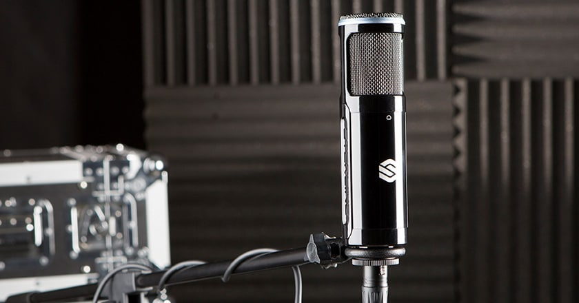 The Sterling SP150 Microphone in its Mic Clip on a Microphone Stand