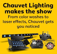 Chauvet Lighting makes the show.  From color washes to laser effects, Chauvet gets you noticed