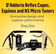 D'Addario Reflex Capos, Equinox and NS Micro Tuners. Innovative design and superior performance.