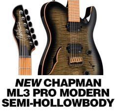 Chapman ML3 Pro Modern Semi-Hollow Electric Guitar Obsidian Burst