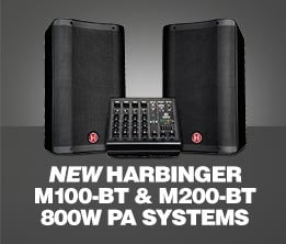 New Harbinger M100-BT & M200-BT 800W PA Systems