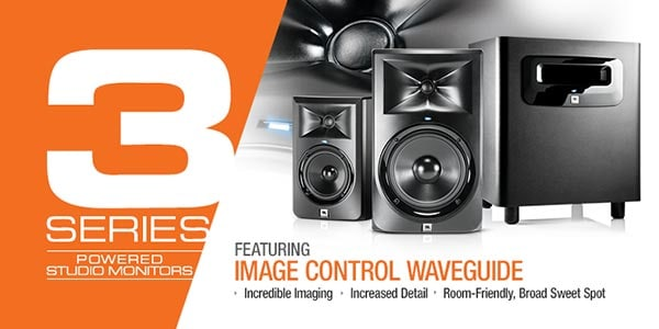 JBL 3 Series Powered Studio Monitors Featuring Image control waveguide technology