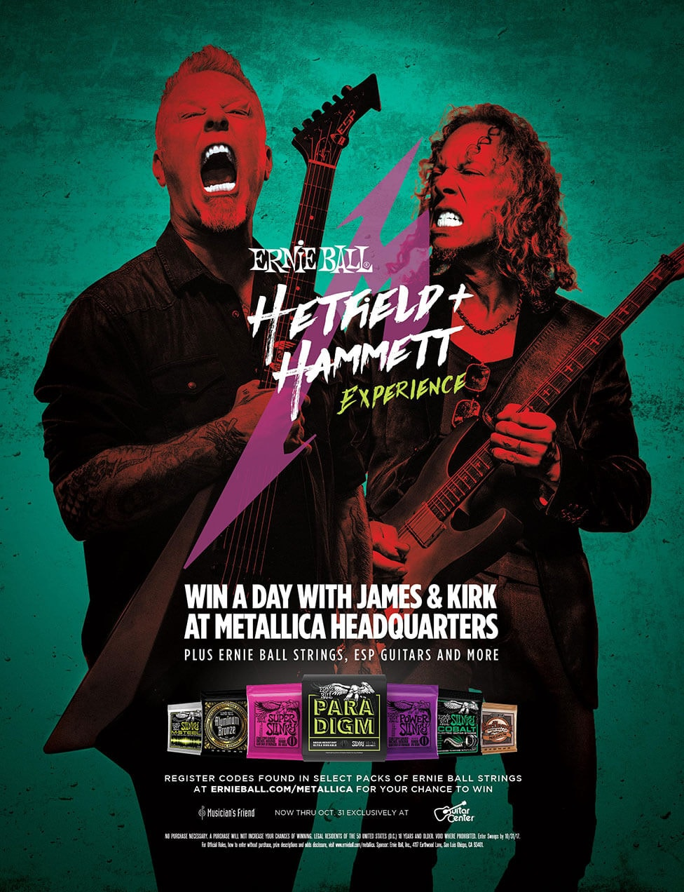 Ernie Ball Hetfield plus Hammett Experience win a day with James and Kirk at Metalica Headquarters