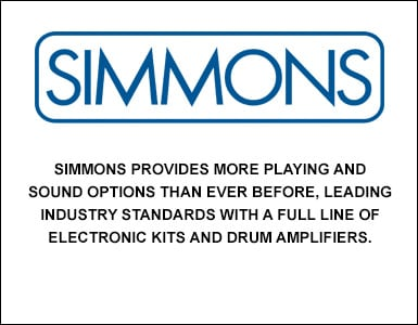 Simmons provides more playing and sound options than ever before, leading industry standards with a full line of electronic kits and drum amplifiers.