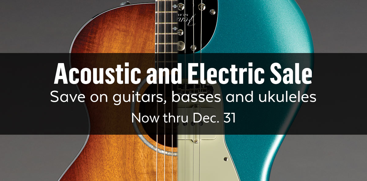 Acoustic and electric sale. Save on guitars, basses and ukuleles.