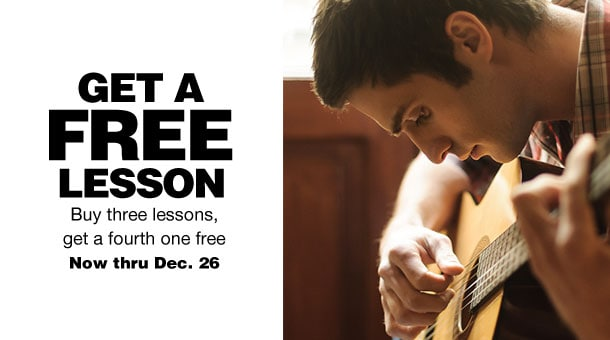Get A Free Lesson | Buy thee lessons, get a fourth one free | Now through December 26th
