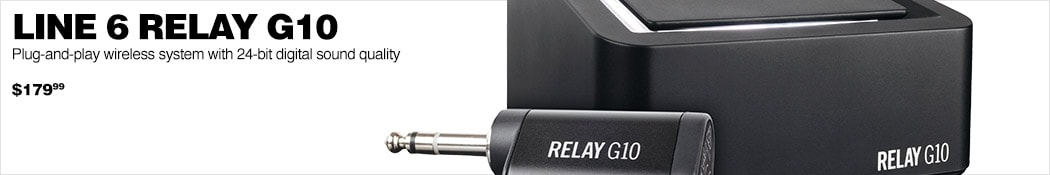 Line 6 Relay G10. Plug-and-play wireless system with 24-bit digital sound quality. $179.99.