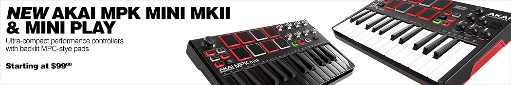 New Akai MPK Mini MKII & Mini Play Ultra-compact performance controllers with backlit MPC-style pads. Starting at $99.00