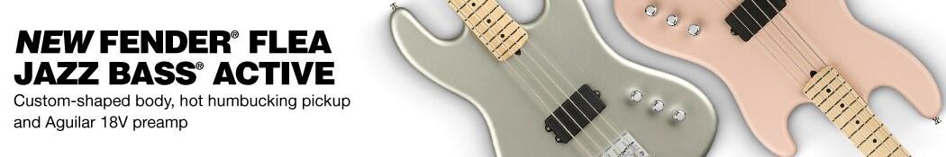 New Fender® Flea Jazz Bass® Active.  Custom-shaped body, hot humbucking pickup and Aguilar 18V preamp.