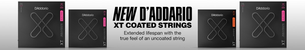 New D'Addario XT Coated Strings. Extended lifespan with the true feel of an uncoated string.