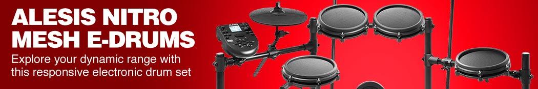 Alesis Nitro Mesh E-Drums. Explore your dynamic range with this responsive electronic drum set.