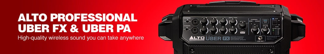 Alto Professional Uber FX and Uber PA. High quality wireless sound you can take anywhere.