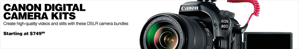 Canon Digital Camera Kits. Create high-quality videos and stills with these DSLR camera bundles. Starting at 749 dollars 99 cents.