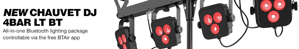 New Chauvet DJ 4Bar LT BT All in one Bluetooth lighting package controllable via the free BTAir app