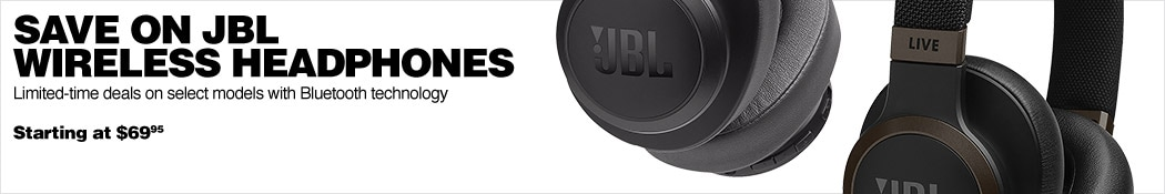 Save on JBL Wireless Headphones. Limited-time deals on select models with Bluetooth technology. Starting at 69 dollars and 95 cents.