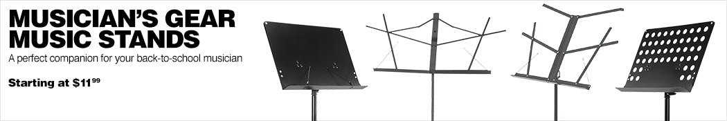 Musician's Gear Music Stands. A perfect companion for your back-to-school musician. Starting at 11 dollars and 99 cents.