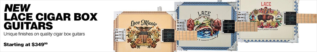 New Lace Cigar Box Guitars. Unique finishes on quality cigar box guitars. Starting at 349 dollars and 99 cents.