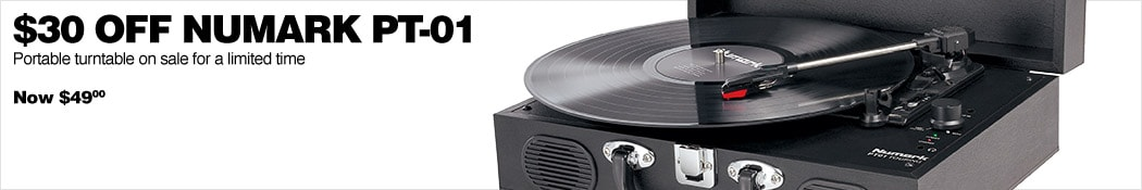 30 dollars off Numark PT-01. Portable turntable on sale for a limited time. Now 49 dollars.