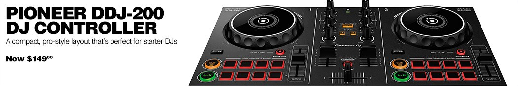 Pioneer DDJ-200 DJ Controller. A compact, pro-style layout that's perfect for starter DJs. Now 149 dollars.