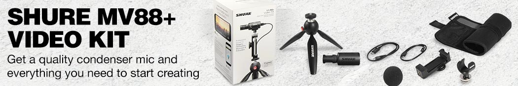 Shure MV 88+ Video Kit. Get a quality condenser mic and everything you need to start creating.