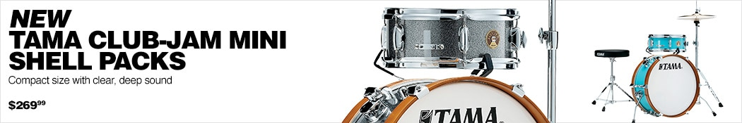 New Tama Club-Jam Mini Shell Packs. Compact size with clear, deep sound. 269 dollars and 99 cents.