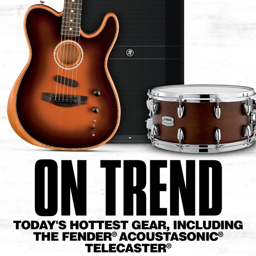 On Trend. Today's hottest gear, including the Fender® Acoustasonic® Telecaster®