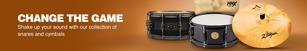 Change the game. Shake up your sound with our collection of snares and cymbals.