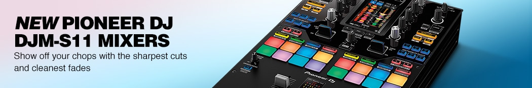 New Pioneer DJ DJM-S11 Mixers. Show off your chops with the sharpest cuts and cleanest fades.