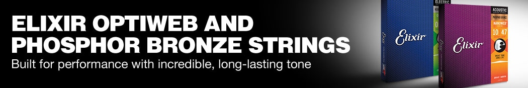Elixir Optiweb and Phosphor bronze strings. Built for performance with incredible, long-lasting tone.