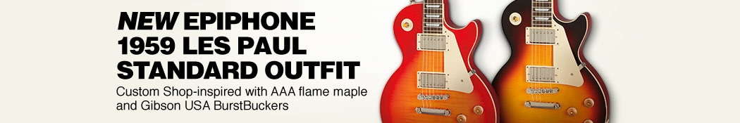 New Epiphone 1959 Les Paul Standard Outfit. Custom Shop-inspired with AAA flame maple and Gibson USA BurstBuckers.