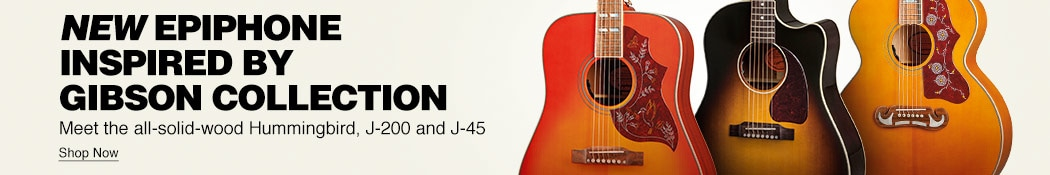 New Epiphone Inspired By Gibson collection. Meet the all-solid-wood Hummingbird, J-200 and J-45. Shop now.