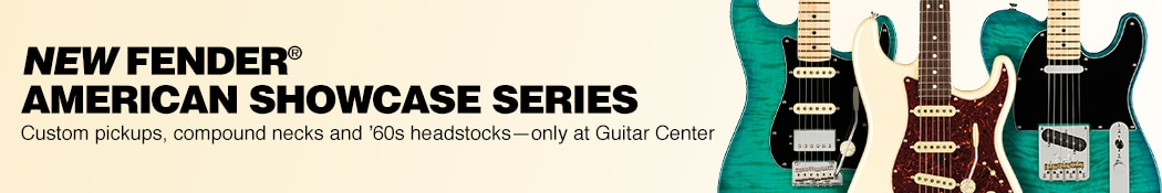 New Fender American Showcase Series. Custom pickups, compound necks and sixties headstocks. Only at Guitar Center.