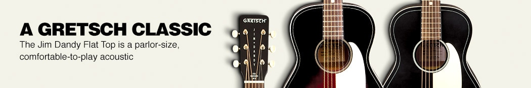 A Gretsch Classic. The Jim Dandy Flat Top is a parlor-size, comfortable to play acoustic.