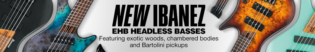New Ibanez EBH Headless Basses. Featuring exotic woods, chambered bodies and Bartolini pickups.