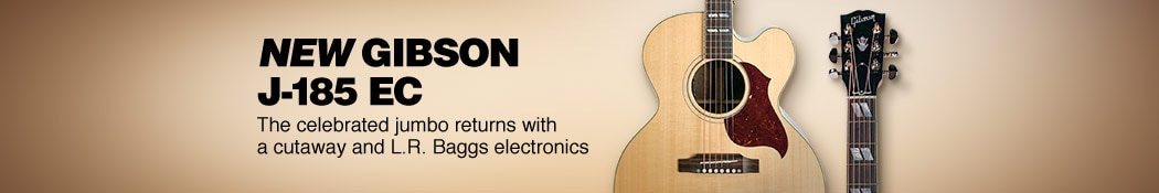 New Gibson J-185 EC. The celebrated jumbo returns with a cutaway and L.R. Baggs electronics.