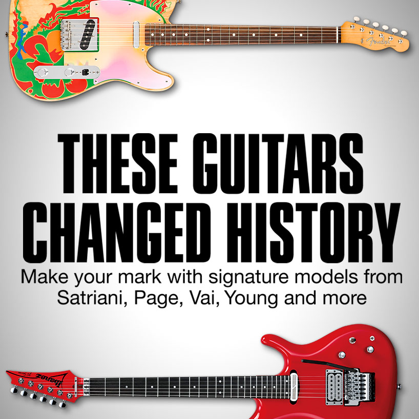These guitars changed history. Make your mark with signature models from Satriani, Page, Vai, Young and more.