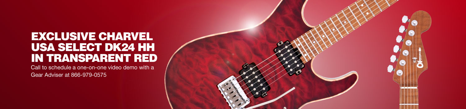 Exclusive Charvel USA Select DK24 HH in Transparent Red. Call to schedule a one-on-one video demo with a Gear Adviser at 866-979-0575.