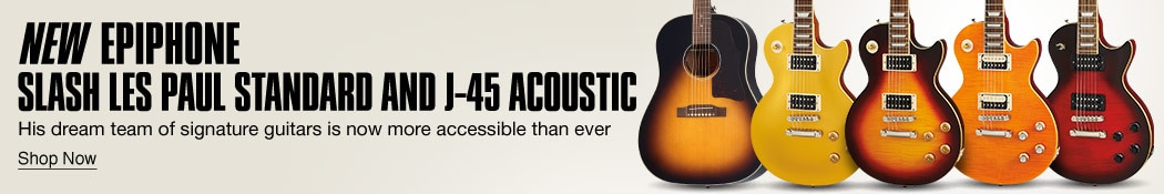 New Epiphone Slash Les Paul Standard and J-45 Acoustic. His dream team of signature guitars is now more accessible than ever. Shop now.