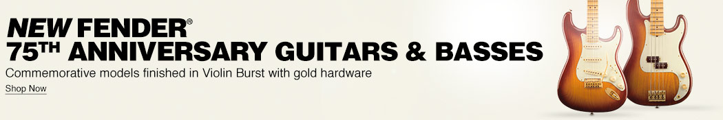 New Fender 75th Anniversary guitars and basses. Commemorative models finished in Violin Burst with gold hardware. Shop now.