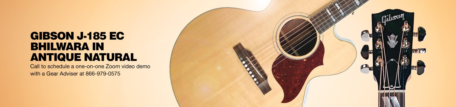 Gibson J-185 EC Bhilwara in Antique Natural. Call to schedule a one-on-one Zoom video demo with a Gear Adviser at 866-979-0575.