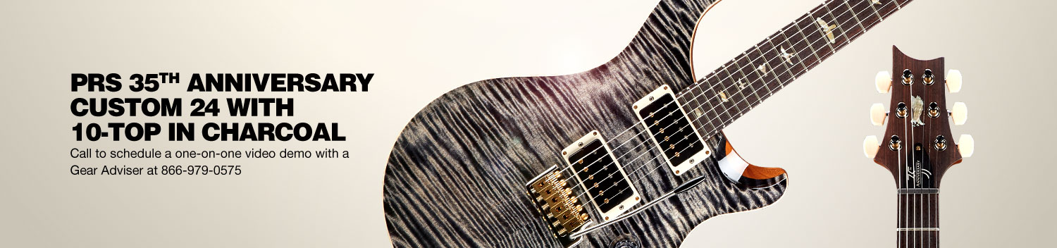 PRS 35th Anniversary Custom 24 with 10-Top in Charcoal. Call to schedule a one-on-one video demo with a Gear Adviser at 866-979-0575.